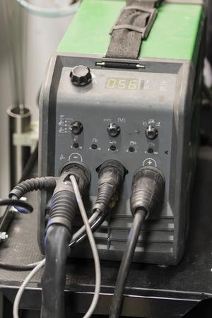 Welding machine in detail on.
