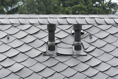 Ventilation chimneys in the lateral part of the roof.