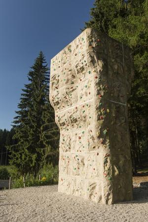 Large artificial climbing wall.