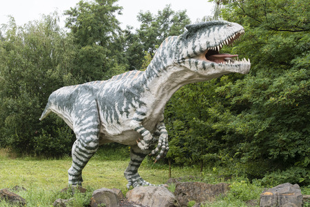 Figurine of dinosaur carnivorous allosaura in nature.