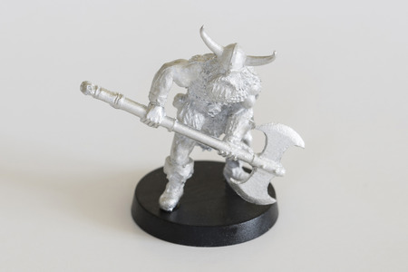 Barbarian Warrior with Ax - Pewter Figurine. Stock Photo