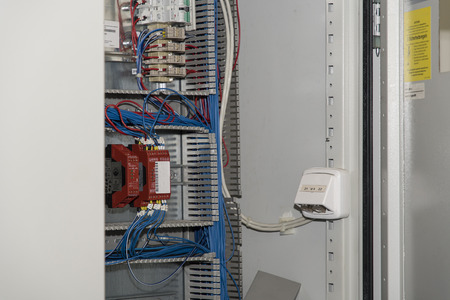 Part of the switchboard with electronics. Standard-Bild