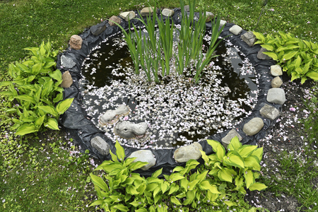Small garden pond with hippopotamus heads in the garden.