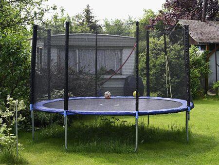 Large trampoline built in the garden.