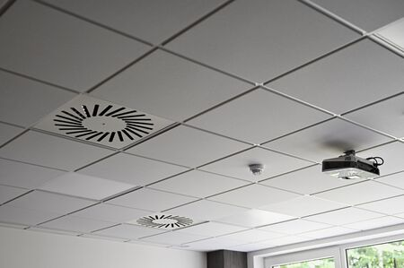 Projector on ceiling.
