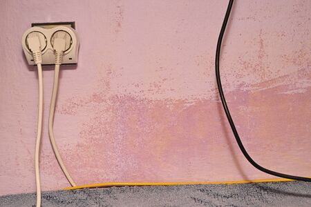Damp mold on wall with drawer and cables. Stok Fotoğraf