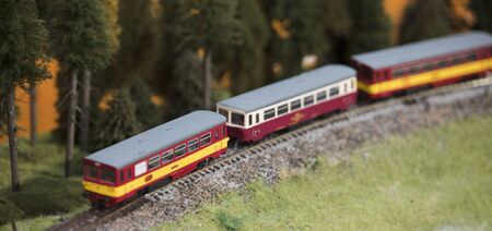 Small model of train locomotive. Archivio Fotografico - 134217345