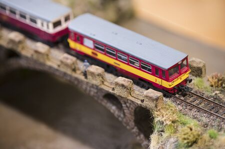 Small model of train locomotive. Archivio Fotografico - 134217350