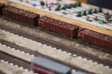 Small plastic model of freight train.