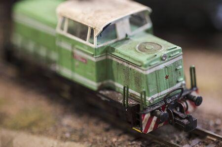 Small model of train locomotive. Archivio Fotografico - 134264158