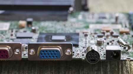 Computer connectors on motherboard pulled from laptop. Stockfoto