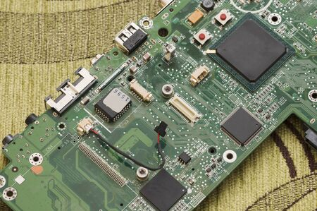 Processor on laptop motherboard in detail. 版權商用圖片