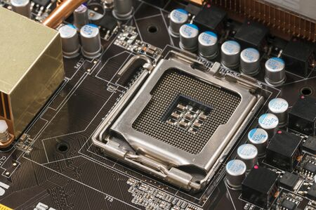 Emplacement du processeur libre en détail sur l'ordinateur. Banque d'images