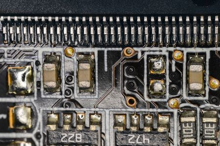 Microprocessor on computer motherboard in macro view.