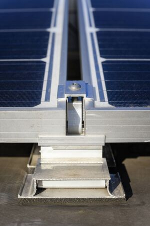 Aluminum joint and lining of solar panels in detail.