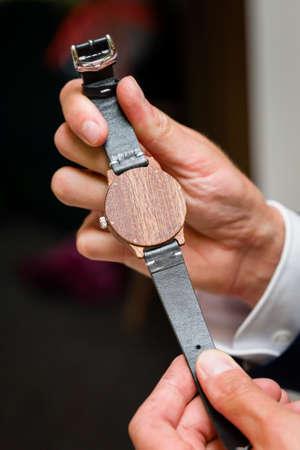 Men's wooden wristwatch as a gift.
