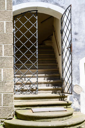 Stairs and metal grilles in the castle style. Banco de Imagens