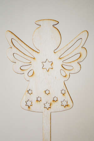 Wooden Christmas angel in detail.