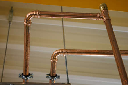Copper piping and joint in detail.