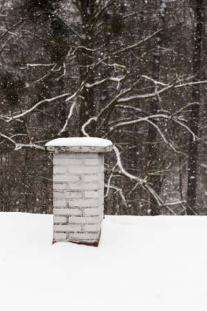 Chimney with snow on the roof with forest in the background. Archivio Fotografico