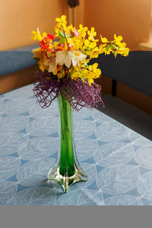 Plastic golden shower and narcissus in a high vase on the table.