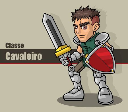 Colorful male knight character in vector. Equipped with sword, shield and armor.