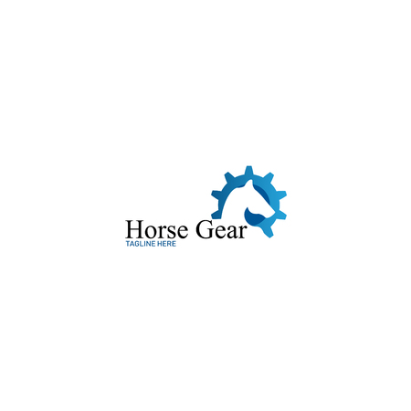 Horse Gear Blue logo for brand identity your company