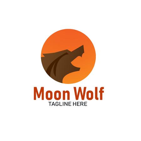vector de logo de cabeza de lobo de luna
