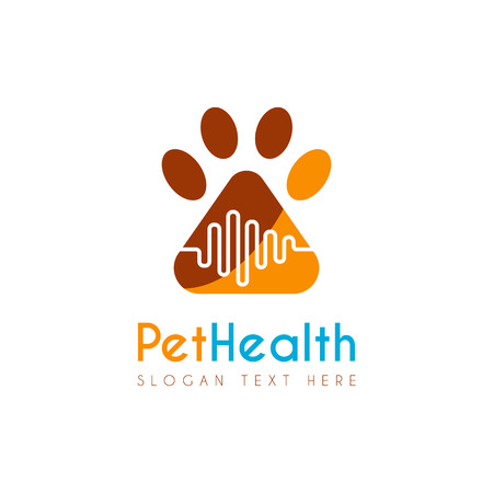 Vector Pet Medical Clinic Health design template. It s good simple design combination with medical health plus and paw animal, icon, emblem, symbol, label, brand identity, company and etc.