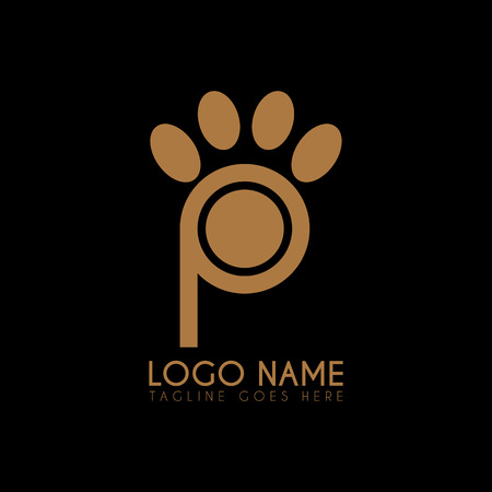 Vector letter P Paw icon, symbols, abstract