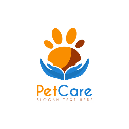 Vector Pet Care design template. Its good design combination Hands Up and Paw Pet Animal, Icon, Symbols, App icon, emblem, label or brand identity. Pet Paw Care, Safety.