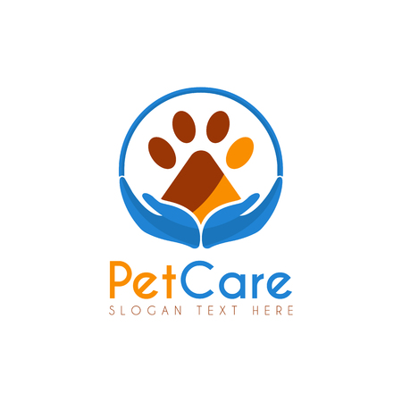 Vector Pet Care Circle design template. Its good design combination Hands Up, Circle and Paw Pet Animal, Icon, Symbols, App icon, emblem, label or brand identity. Pet Paw Care, Safety.
