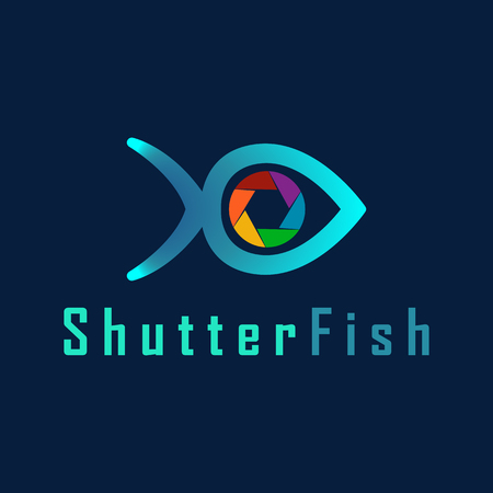 Vector Shutter Fish with Fish Line and Shutter combination for design template. Icon for Photography, Photo Spy, Candid Photo, App icon mobile, Studio Photo, Photo Art, Photography, Underwater Photographer. Ilustrace