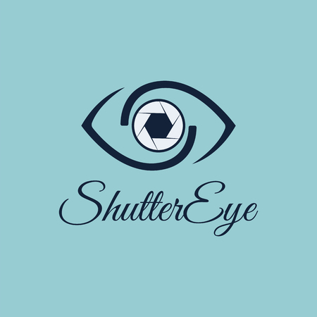 Vector Shutter Eye con combinazione Eye e Shutter per modello di progettazione. Icona per la fotografia, foto spia, foto candida, icona dell'app mobile, foto in studio, arte fotografica, galleria fotografica.