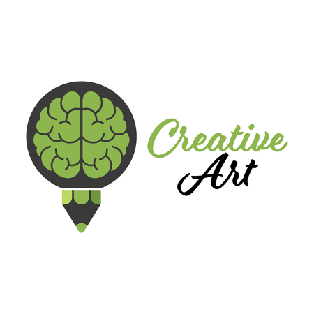 Vector Creative Art Brain Pencil Design template.