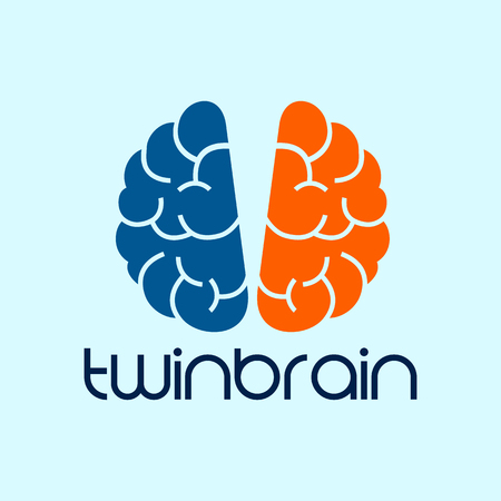 Vector Twin Brain Photography design template. blue and orange.