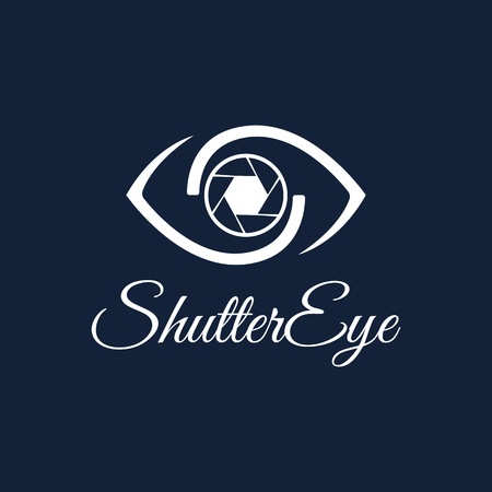 Vector Shutter Eye Photography design template. White color.