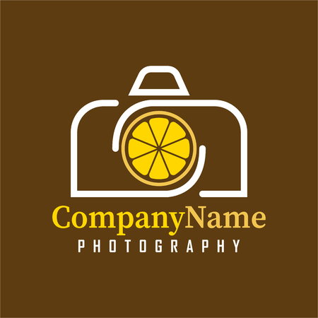 Vector Camera Lemon design template. Icon with camera and Lemon fruit combination. Its good simple design your company or brand identity.