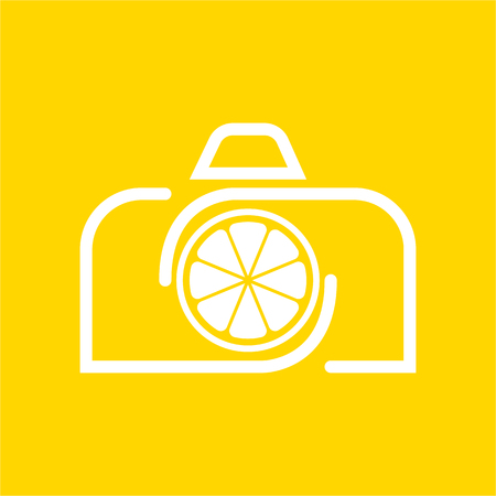 Vector Camera Lemon design template and support icon modern. Icon with camera and Lemon fruit combination white color. Its good simple design your company or brand identity.