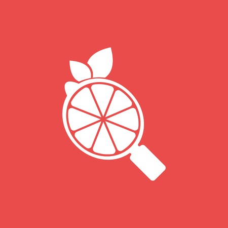 Vector Lemon Search design template and support icon modern. Icon with White color, circle, magnifying glass and Lemon fruit combination. Its good simple design your company or brand identity.