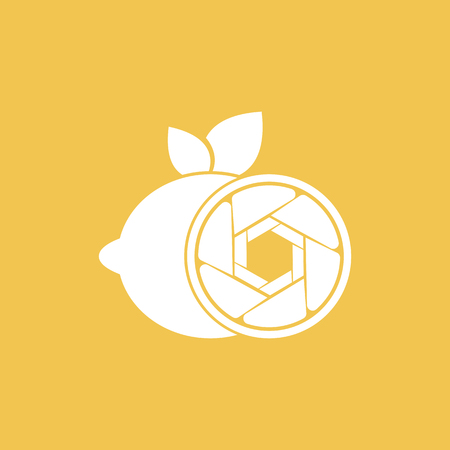 Vector Lemon Shutter Photography design template. Icon with white color, circle, shutter and Lemon fruit combination. Its good simple design your company or brand identity.