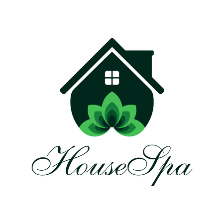 House Spa Template. Its simple design house and lotus flower green combination. You can make brand identity or company. Illustration
