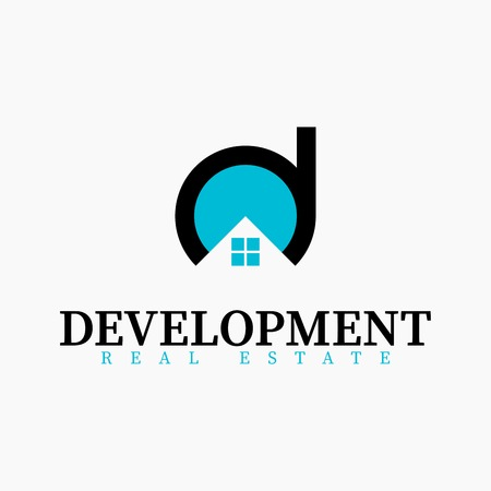 Vector real estate initial Letter D Logo design template. Black and blue vector icon. Illustration of Letter d and window house. Concept for real estate, city town house, building construction. Ilustração