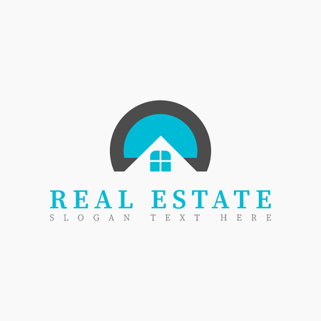 Vector real estate initial Letter D or letter O Logo design template. Illustration of Letter D upside down or letter O half and window. Concept for real estate, city town house, building construction.