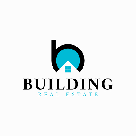 Vector real estate initial Letter B Logo design template. Black and blue vector icon.