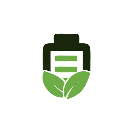 Eco Nature leaf and battery vector logo template for environment and energy industrial. Concept illustration for Save Energy.