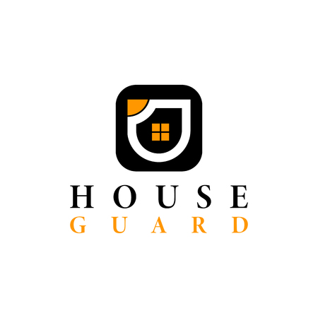 Vector real estate house guard in square Logo design template. Black and orange vector icon. Illustration of shield and window house.