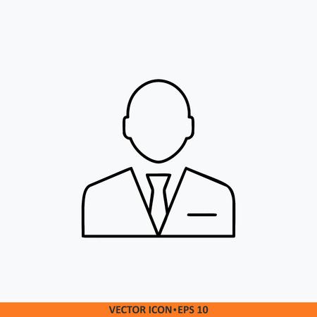 Manager icon sign vector. Web office illustration. Field outline on white background. Symbol for website design, mobile application, ui. Editable stroke.