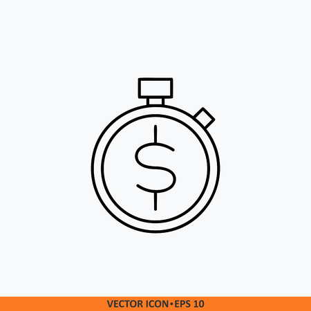 Management time money icon sign vector. Web office illustration. Field outline on white background. Symbol for website design, mobile application, ui. Editable stroke.