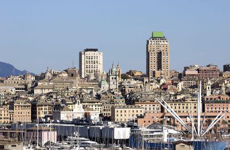 genoa: Genoa. A view of Genova with the Porto Antico, the famous Acquarium and the bigo building by architect Renzo Piano in 1992